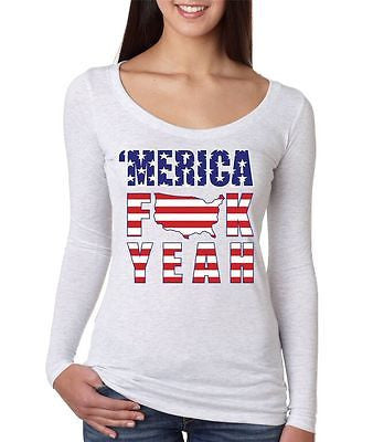 Merica F**k Yeah - USA Print Women's Long Sleeve Shirt - ALLNTRENDSHOP - 1