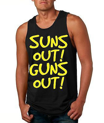 Suns Out! Guns Out ! Yellow Men's Jersy Tanktop - ALLNTRENDSHOP - 5