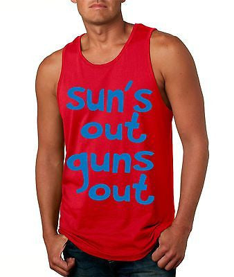 Suns Out! Guns Out ! Blue Men's Jersy Tanktop - ALLNTRENDSHOP - 2