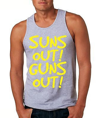 Suns Out! Guns Out ! Yellow Men's Jersy Tanktop - ALLNTRENDSHOP - 2
