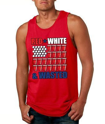 Red White And Wasted Men's Jersey Tanktop - ALLNTRENDSHOP - 1