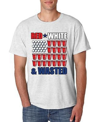 Red White And Wasted 4th of July Men's T-Shirt - ALLNTRENDSHOP - 3