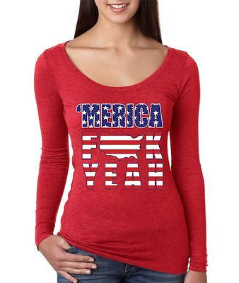 Merica F**k Yeah - USA Print Women's Long Sleeve Shirt - ALLNTRENDSHOP - 2