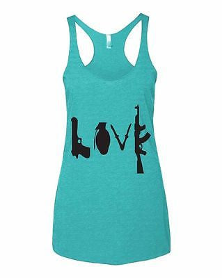 Love Guns Women's Triblend Racerback Tanktop - ALLNTRENDSHOP - 1
