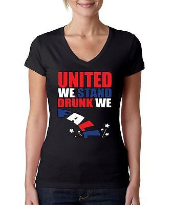 United We Stand Drunk We Fall Women's Sporty V shirt - ALLNTRENDSHOP - 2