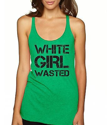 White Girl Wasted Black Print Women's Triblend Tanktop - ALLNTRENDSHOP - 2