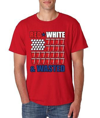 Red White And Wasted 4th of July Men's T-Shirt - ALLNTRENDSHOP - 1