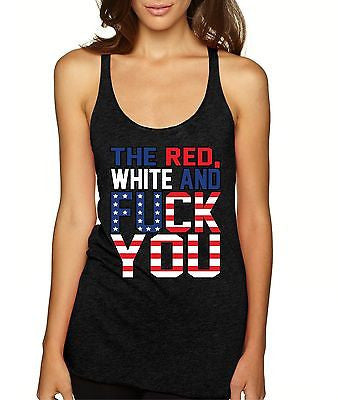 The Red White And F**K You Usa Flag Women's Triblend Tanktop - ALLNTRENDSHOP - 1