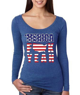 Merica F**k Yeah - USA Print Women's Long Sleeve Shirt - ALLNTRENDSHOP - 3