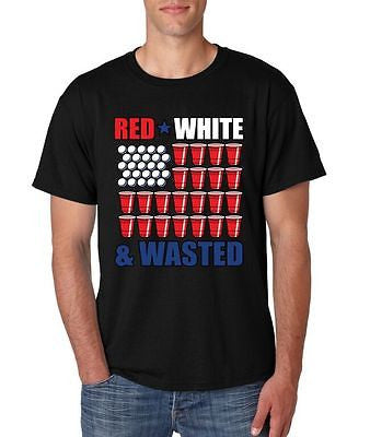 Red White And Wasted 4th of July Men's T-Shirt - ALLNTRENDSHOP - 2