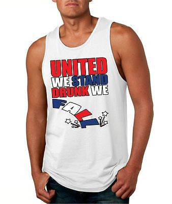 United We Stand Drunk We Fall Men's Jersey Tanktop - ALLNTRENDSHOP - 3