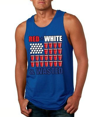 Red White And Wasted Men's Jersey Tanktop - ALLNTRENDSHOP - 5