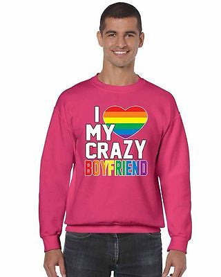 I Love My Crazy Boyfriend Pride Men's Crewneck Sweatshirt - ALLNTRENDSHOP