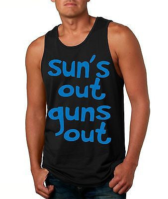 Suns Out! Guns Out ! Blue Men's Jersy Tanktop - ALLNTRENDSHOP - 3