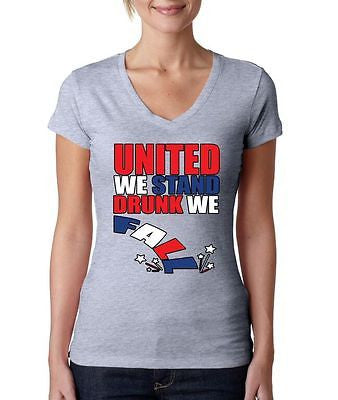 United We Stand Drunk We Fall Women's Sporty V shirt - ALLNTRENDSHOP - 3
