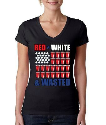 Red White And Wasted 4th of July Women's Sporty V Shirt - ALLNTRENDSHOP - 4