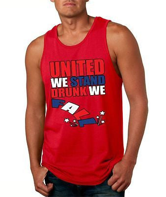 United We Stand Drunk We Fall Men's Jersey Tanktop - ALLNTRENDSHOP - 1