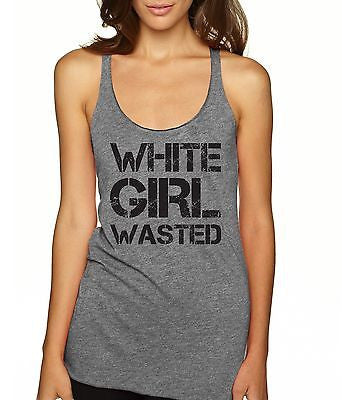 White Girl Wasted Black Print Women's Triblend Tanktop - ALLNTRENDSHOP - 6