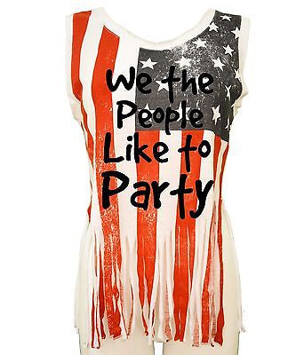 We The People Like To Party Us Flag Women's Shredded Muscle - ALLNTRENDSHOP - 1
