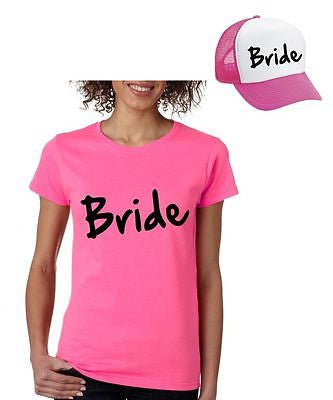 Bride Set Of 2 Hats & Women's Tee Shirts Bachelorette party Wedding Clothing - ALLNTRENDSHOP
