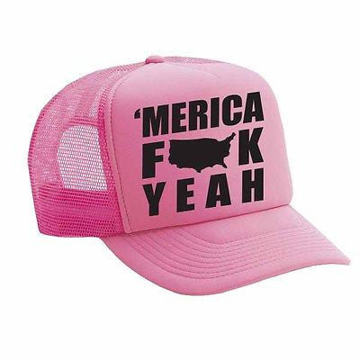 Merica F**k Yeah Single Color Trucker Cap - ALLNTRENDSHOP - 1