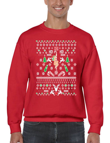 HO HO HO Christmas Dancer Men's Crewneck Sweatshirt  Ugly Christmas Sweater - ALLNTRENDSHOP