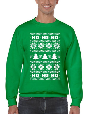 HO HO HO Men's Crewneck Sweatshirt Ugly Christmas Sweater - ALLNTRENDSHOP