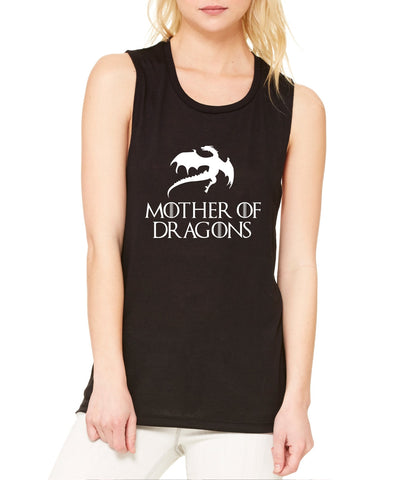 Women's Flowy Muscle Top Mother Of Dragons White Print - ALLNTRENDSHOP