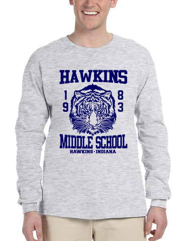 Men's Long Sleeve Hawkins Middle School 1983 Tigers - ALLNTRENDSHOP - 1