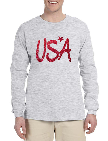 Men's Long Sleeve USA Red Glitter Love America 4th Of July