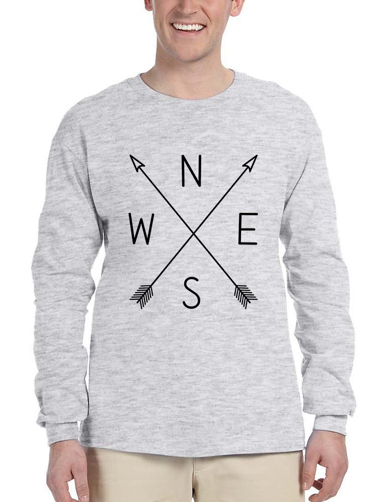 Men's Long Sleeve Compass Arrow Crossed Cool Graphic Top NWSE - ALLNTRENDSHOP - 1