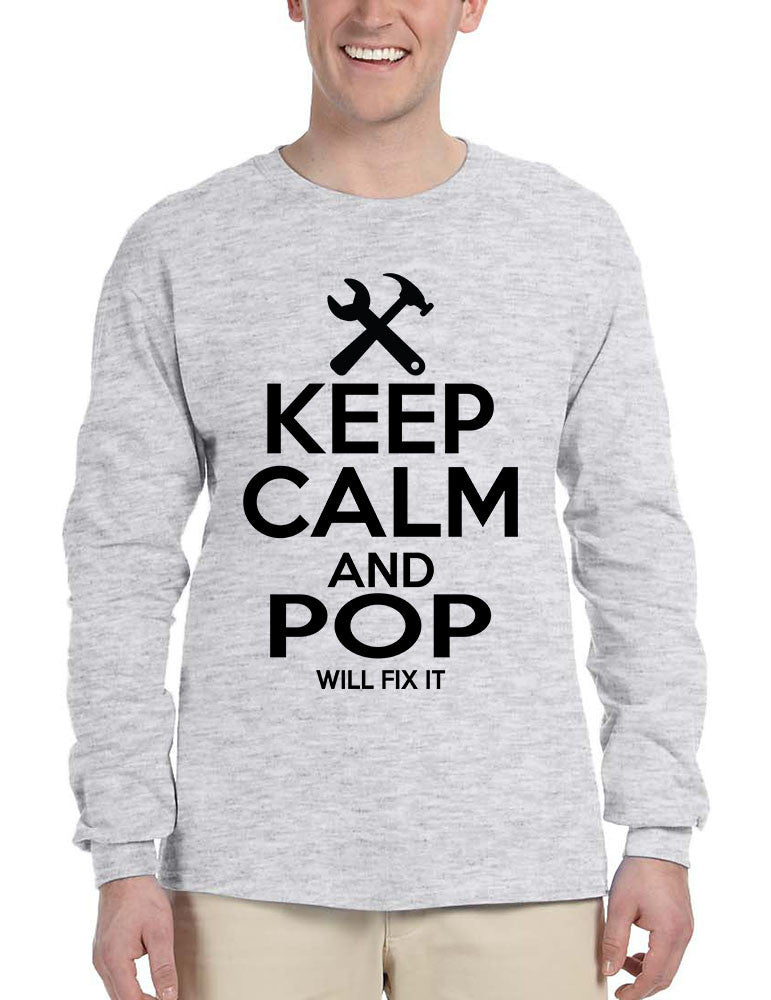 Men's Long Sleeve Keep Calm And Pop Will Fix It Grandpa Holiday Tee - ALLNTRENDSHOP - 1