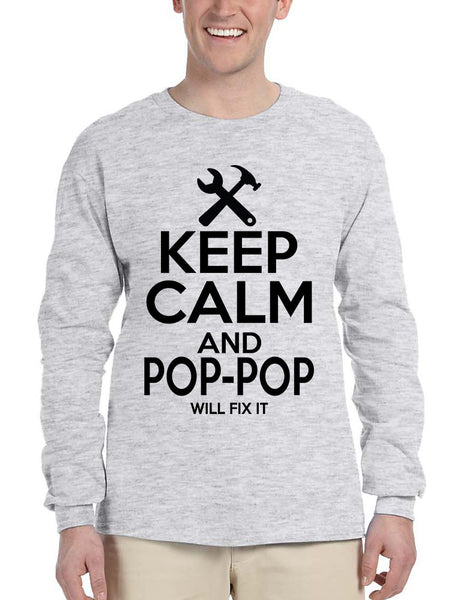 Men's Long Sleeve Keep Calm Pop Pop Will Fix It Grandpa Holiday Tee - ALLNTRENDSHOP - 5