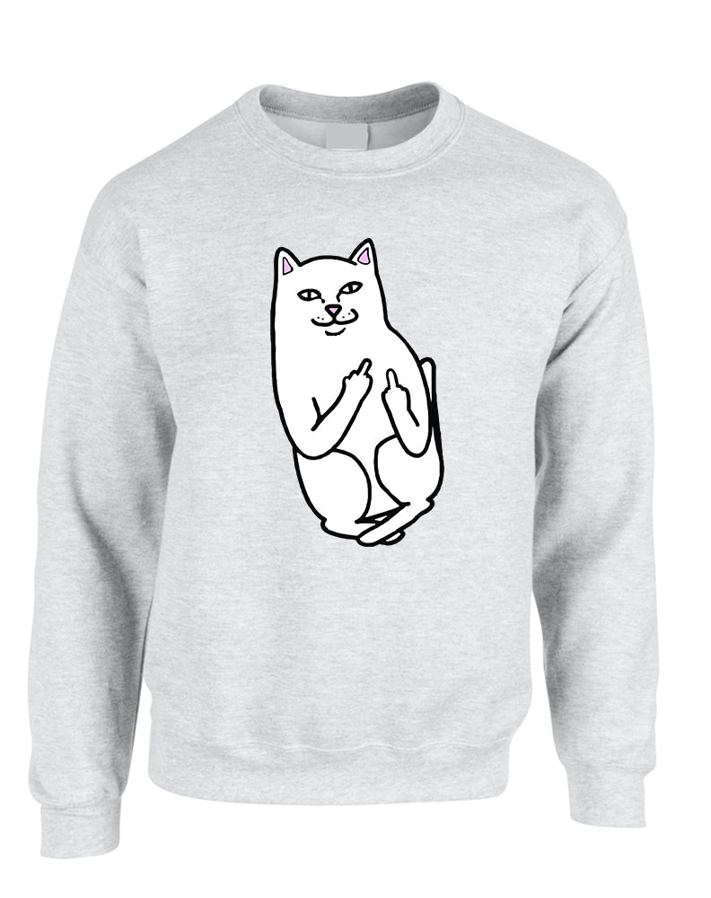 Adult Sweatshirt Middle Finger Cat Humor Funny Top