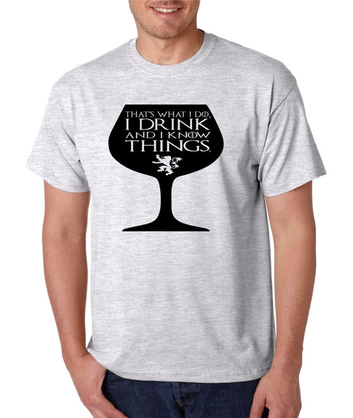Men's T Shirt That's What I Do I Drink And Know Things Wing Glass Tyrion Lannister Top Game Of Thrones Inspired Tee - ALLNTRENDSHOP - 6