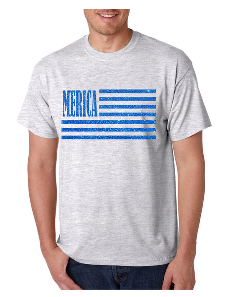 Men's T Shirt Merica Glitter Blue Flag 4th Of July Tee