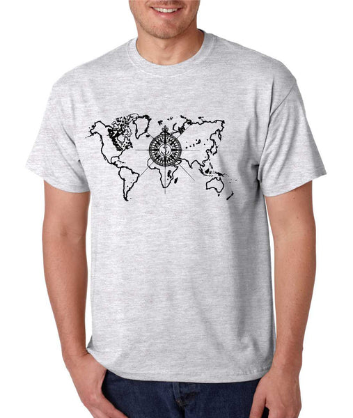 Men's T Shirt World Map Compass Cool Graphic Tee - ALLNTRENDSHOP - 6