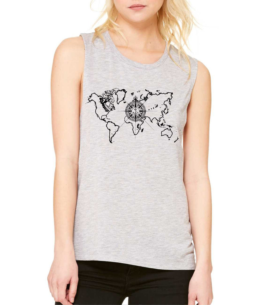 Women's Flowy Muscle Top World Map Compass Cool Tank - ALLNTRENDSHOP - 1