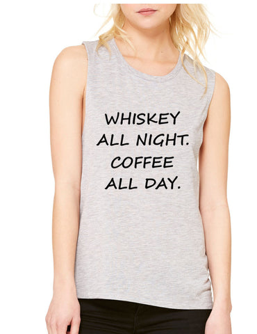 Women's Flowy Muscle Top Whiskey All Night Coffee All Day - ALLNTRENDSHOP - 1