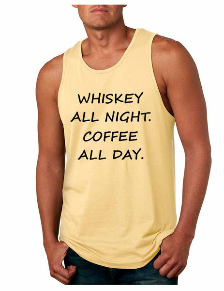 Men's Tank Top Whiskey All Night Coffee All Day Party Funny Top - ALLNTRENDSHOP - 5