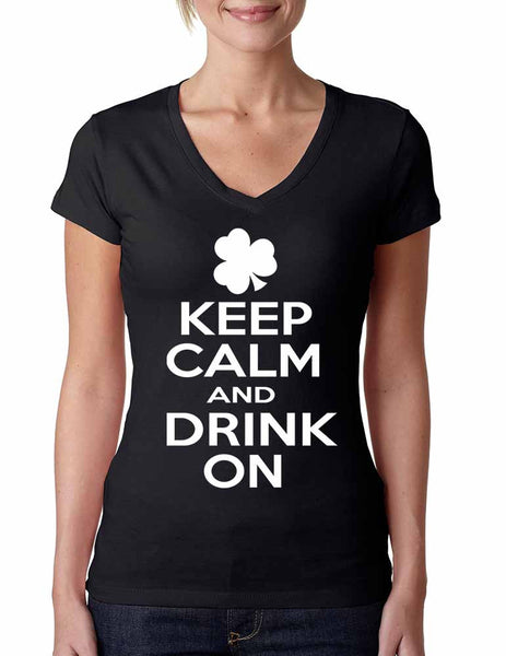 Keep calm and drink on Women V Shirt saint patricks day - ALLNTRENDSHOP - 1