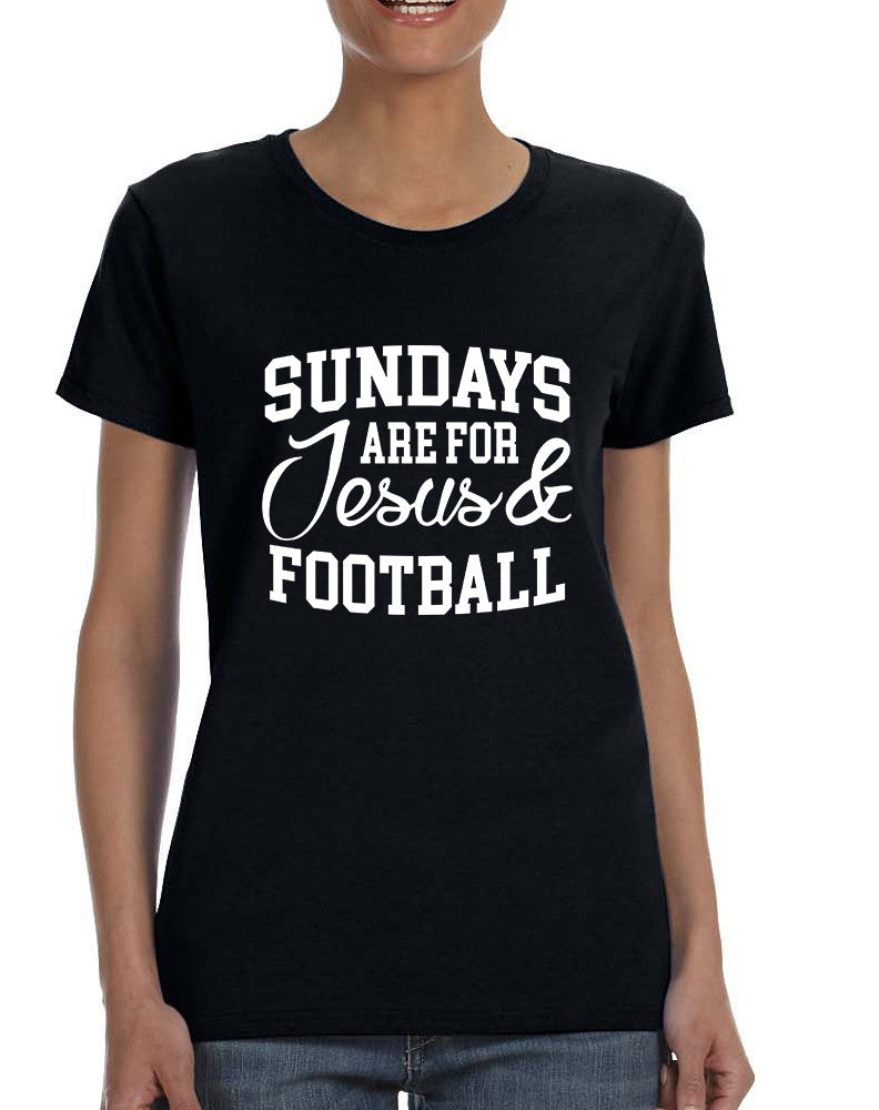 Women's T Shirt Sundays Are For Jesus And Football Love Tee