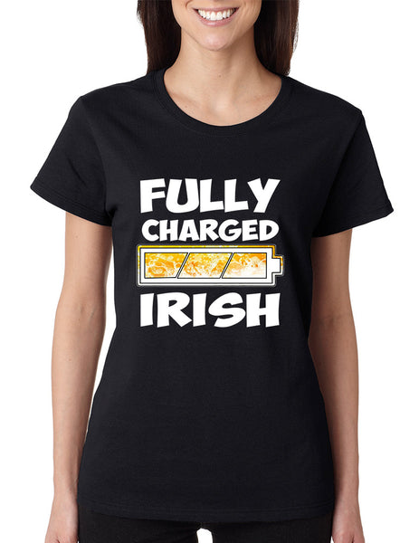 Women's T Shirt Fully Charged Irish St Patrick's Day Tee Fun - ALLNTRENDSHOP - 2