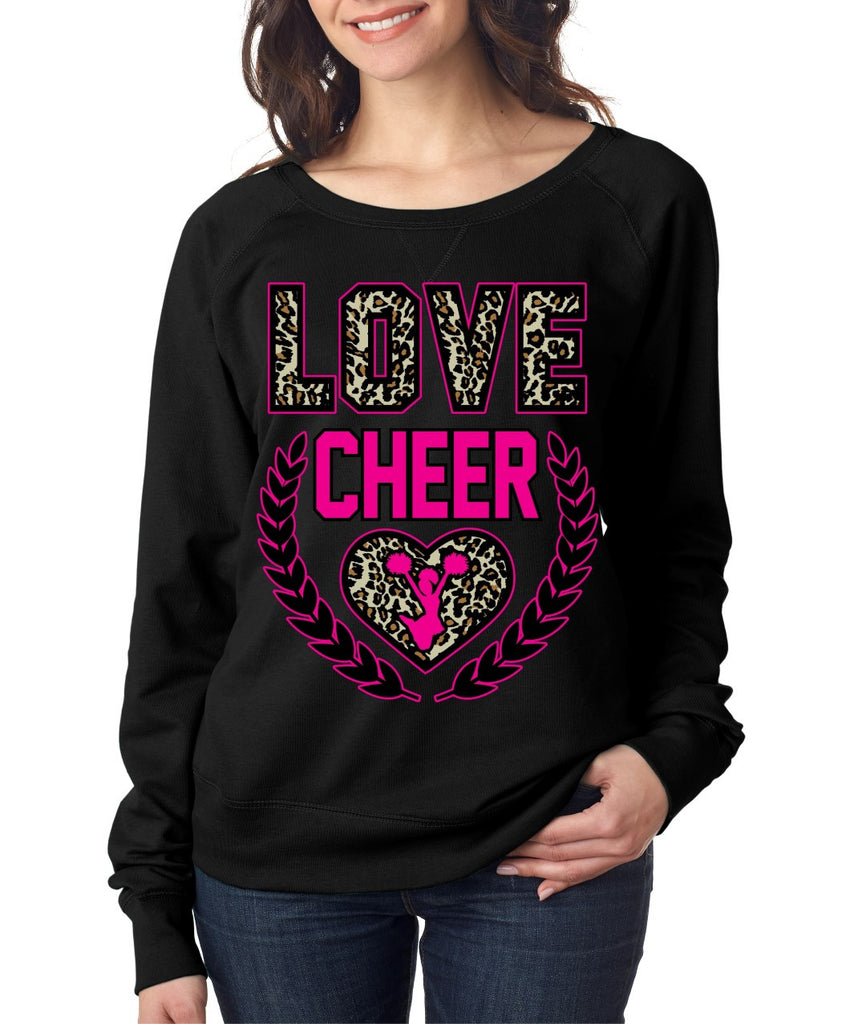 Love Cheer Leopard Womens long sleeve Pullover - ALLNTRENDSHOP - 1