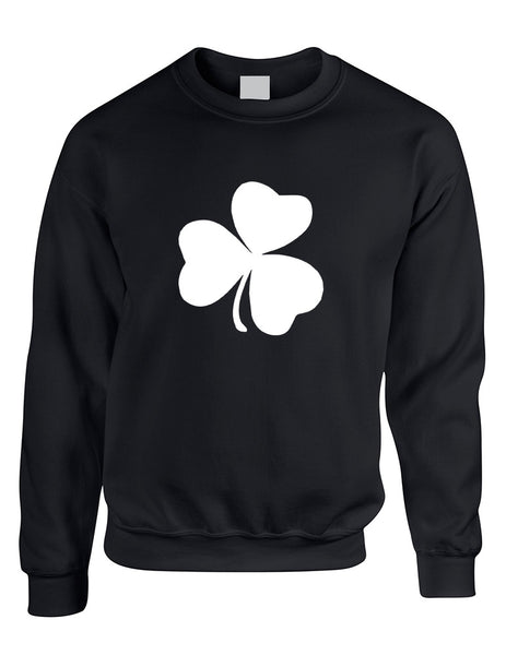 Adult Sweatshirt White Shamrock Graphic St Patrick's Day Cool - ALLNTRENDSHOP - 2