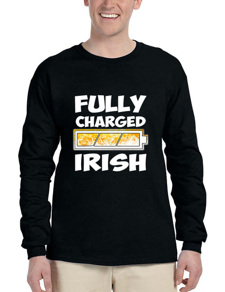Men's Long Sleeve Fully Charged Irish St Patrick's Day Shirt - ALLNTRENDSHOP - 2