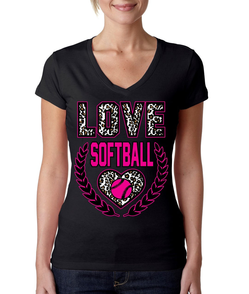Love Softball Leopard Womens Sporty V - ALLNTRENDSHOP - 3