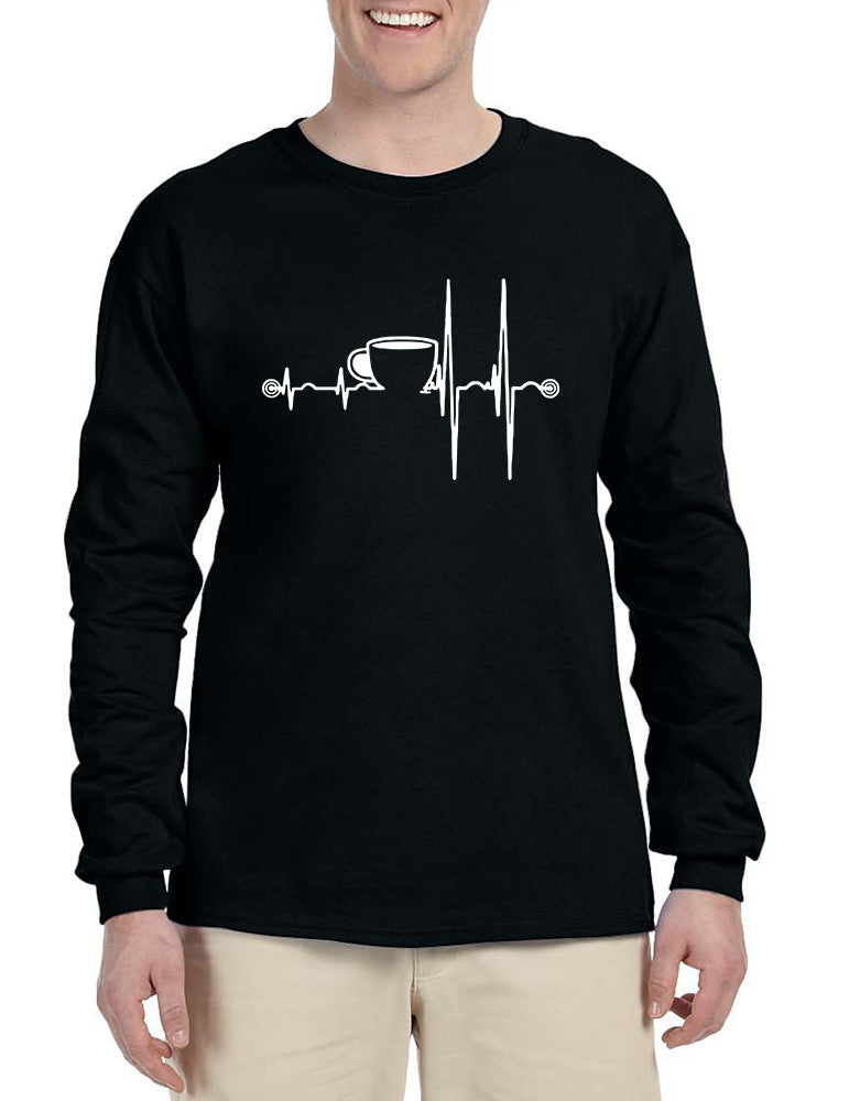 Men's Long Sleeve Coffee Heartbeat Coffee Lovers Tee Shirt
