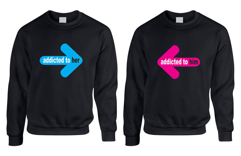 Addicted to her Addicted to him Valentine day Sweaters Couple - ALLNTRENDSHOP
