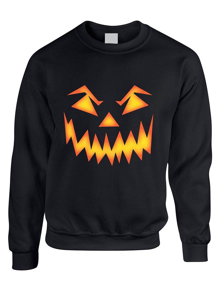 Adult Crewneck Angry Pumpkin Face Halloween Costume Top Idea - ALLNTRENDSHOP